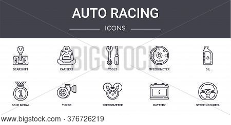 Auto Racing Concept Line Icons Set. Contains Icons Usable For Web, Logo, Ui Ux Such As Car Seat, Spe