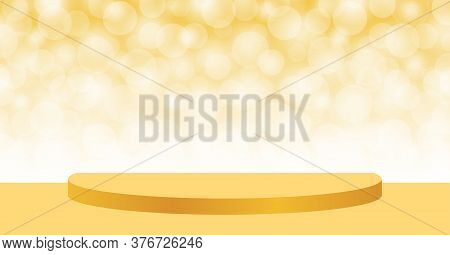 Gold Pedestal Stage On Bokeh Soft For Background, Stage Podium 3d For Cosmetics Product Display Show
