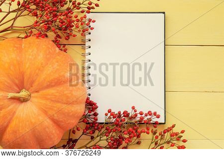 Thanksgiving Day. Halloween. Autumn Mock Up.back To School. Blank White Notebook Branches With Red B