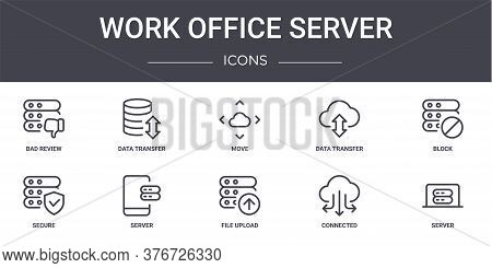Work Office Server Concept Line Icons Set. Contains Icons Usable For Web, Logo, Ui Ux Such As Data T