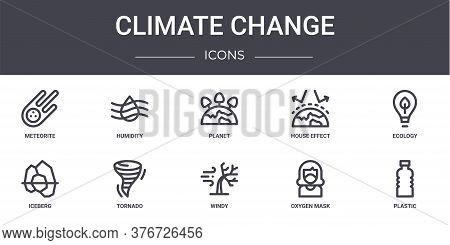 Climate Change Concept Line Icons Set. Contains Icons Usable For Web, Logo, Ui Ux Such As Humidity,