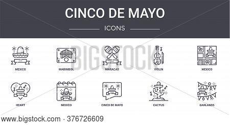 Cinco De Mayo Concept Line Icons Set. Contains Icons Usable For Web, Logo, Ui Ux Such As Marimbol, V