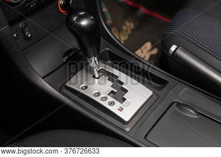 Gear Shift. Automatic Transmission Gear Of Car , Car Interior