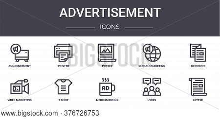 Advertisement Concept Line Icons Set. Contains Icons Usable For Web, Logo, Ui Ux Such As Printer, Gl