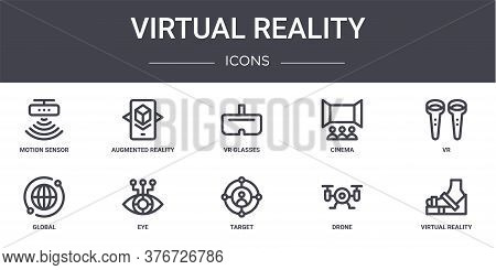 Virtual Reality Concept Line Icons Set. Contains Icons Usable For Web, Logo, Ui Ux Such As Augmented