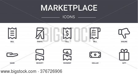 Marketplace Concept Line Icons Set. Contains Icons Usable For Web, Logo, Ui Ux Such As Pants, Bill,