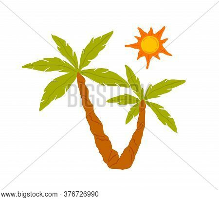 Colorful Exotic Palm Tree With Sun Vector Illustration. Coconut Tree With Green Leaves And Trunk Iso