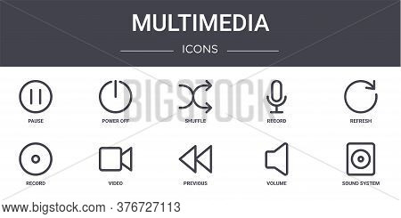 Multimedia Concept Line Icons Set. Contains Icons Usable For Web, Logo, Ui Ux Such As Power Off, Rec