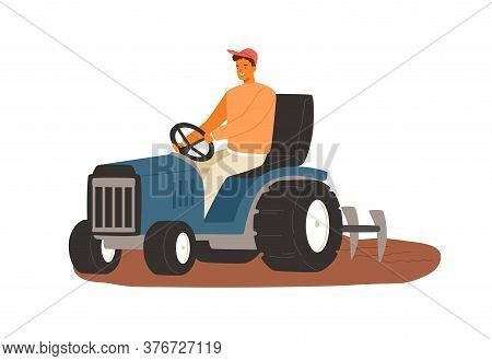Smiling Male Farmer Working On Tractor Vector Flat Illustration. Man Driving Heavy Agricultural Mach