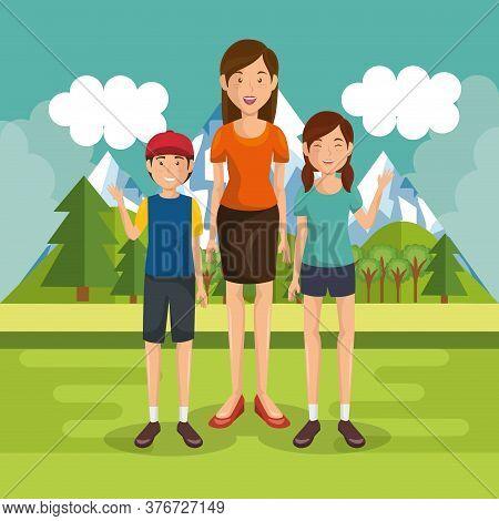 Family Members Outside In Landscape Vector Illustration Design