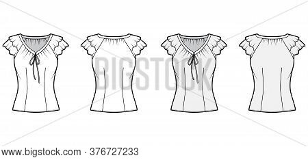 Blouse Technical Fashion Illustration With Ties At The V Neckline, Fluttery Ruffles Short Sleeves, F