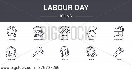 Labour Day Concept Line Icons Set. Contains Icons Usable For Web, Logo, Ui Ux Such As Lumberjack, Wr