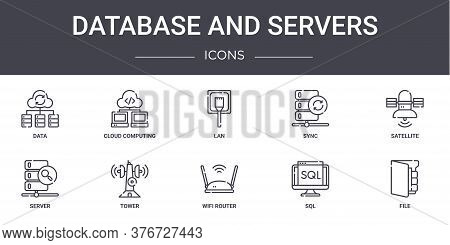 Database And Servers Concept Line Icons Set. Contains Icons Usable For Web, Logo, Ui Ux Such As Clou
