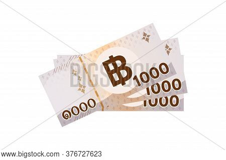 3,000 Baht Thai Banknote Money, Bank Note Money Thailand Baht For Business And Finance, Pile Of Pape