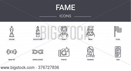 Fame Concept Line Icons Set. Contains Icons Usable For Web, Logo, Ui Ux Such As Sculpture, Man, Bow