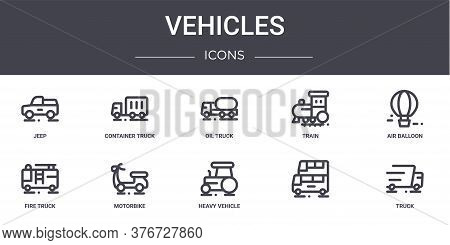 Vehicles Concept Line Icons Set. Contains Icons Usable For Web, Logo, Ui Ux Such As Container Truck,