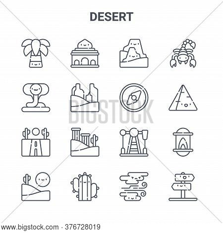Set Of 16 Desert Concept Vector Line Icons. 64x64 Thin Stroke Icons Such As Mosque, Cobra, Pyramid,