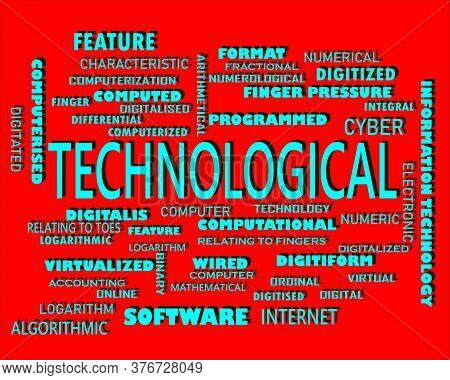 Technology Word Displayed With Multiple Related Words Cloud On Vector Abstract Text Illustration.