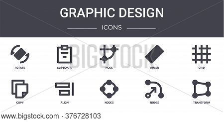 Graphic Design Concept Line Icons Set. Contains Icons Usable For Web, Logo, Ui Ux Such As Clipboard,
