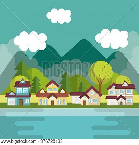Landscape With Neighborhood And Lake Scene Vector Illustration Design