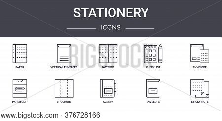 Stationery Concept Line Icons Set. Contains Icons Usable For Web, Logo, Ui Ux Such As Vertical Envel