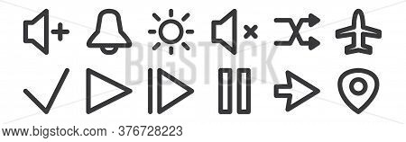 12 Set Of Linear User Interface Icons. Thin Outline Icons Such As Maps, Pause, Play, Shuffle, Bright