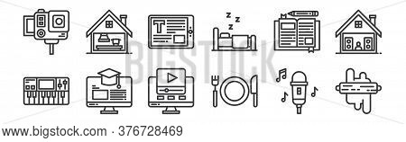 12 Set Of Linear Stay At Home Icons. Thin Outline Icons Such As Bakery, Eating, E Learning, Diary, E