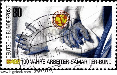 02 11 2020 Divnoe Stavropol Territory Russia The Postage Stamp Germany 1988 The 100th Anniversary Of