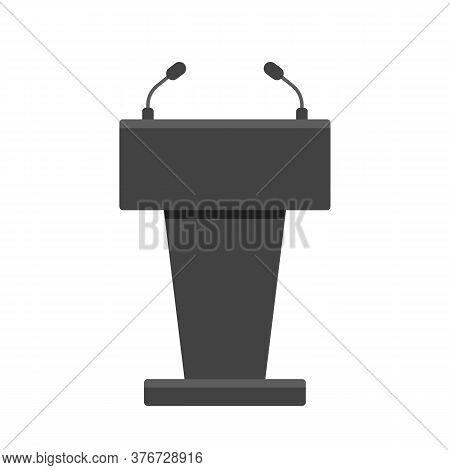 Podium, Stage, Rostrum Black Mockup. Tribune For Event. Presidential Debate, Speech Of Lecturer. Pol
