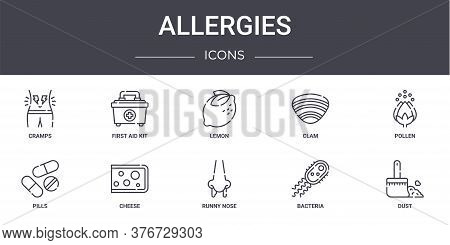 Allergies Concept Line Icons Set. Contains Icons Usable For Web, Logo, Ui Ux Such As First Aid Kit,