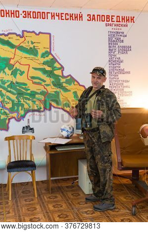 Chojniki, Belarus, - April 26, 2019: Guide Telling The Chernobyl Accident Story In 1986 In The Museu