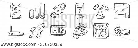 12 Set Of Linear Technology Icons. Thin Outline Icons Such As Camcorder, Robotic Hand, Startup, Expe
