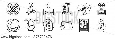 12 Set Of Linear Hope Icons. Thin Outline Icons Such As Lantern, Calendar, Love, Hands, Blood Donor