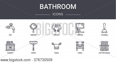 Bathroom Concept Line Icons Set. Contains Icons Usable For Web, Logo, Ui Ux Such As Mirror, Mirror,