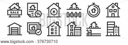 12 Set Of Linear Real Estate Icons. Thin Outline Icons Such As Real Estate, Calculations, Photo, Chr