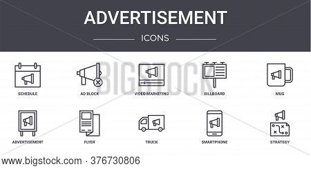 Advertisement Concept Line Icons Set. Contains Icons Usable For Web, Logo, Ui Ux Such As Ad Block, B