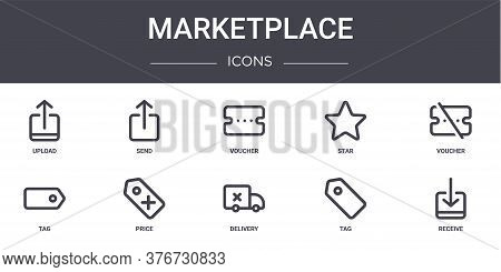 Marketplace Concept Line Icons Set. Contains Icons Usable For Web, Logo, Ui Ux Such As Send, Star, T