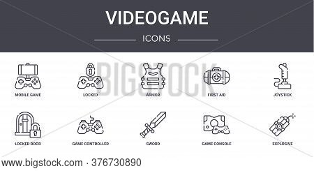 Videogame Concept Line Icons Set. Contains Icons Usable For Web, Logo, Ui Ux Such As Locked, First A