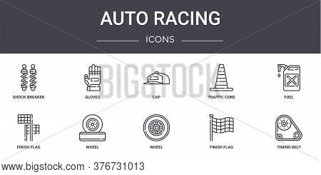 Auto Racing Concept Line Icons Set. Contains Icons Usable For Web, Logo, Ui Ux Such As Gloves, Traff