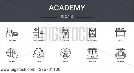 Academy Concept Line Icons Set. Contains Icons Usable For Web, Logo, Ui Ux Such As Arithmetic, Hourg