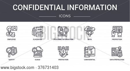 Confidential Information Concept Line Icons Set. Contains Icons Usable For Web, Logo, Ui Ux Such As