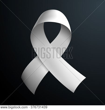White Ribbon Loop Isolated On Dark Gradient Background. Vector Illustration. Symbol Of Alliance For