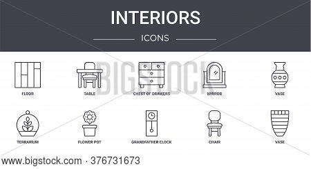 Interiors Concept Line Icons Set. Contains Icons Usable For Web, Logo, Ui Ux Such As Table, Mirror,
