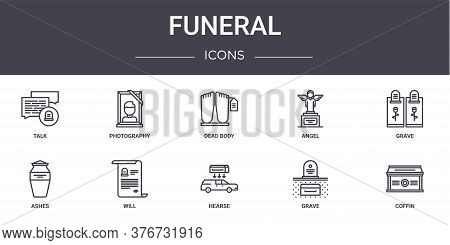 Funeral Concept Line Icons Set. Contains Icons Usable For Web, Logo, Ui Ux Such As Photography, Ange