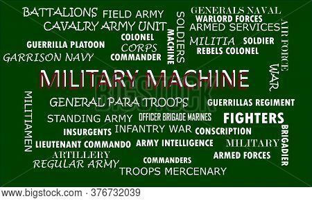 Military Machine Word Displayed With Related Meaningful Words On Text Cloud Vector Illustration