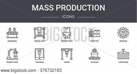 Mass Production Concept Line Icons Set. Contains Icons Usable For Web, Logo, Ui Ux Such As Bridge Sa