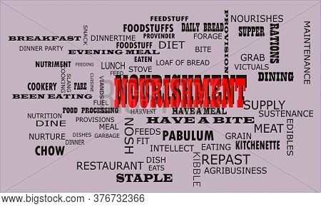 Nourishment Human Body Nutritional Terminology Presented With Word Cloud Vector Illustration On Colo