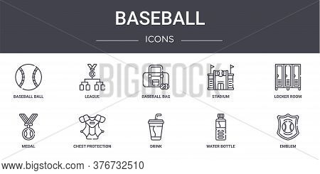 Baseball Concept Line Icons Set. Contains Icons Usable For Web, Logo, Ui Ux Such As League, Stadium,