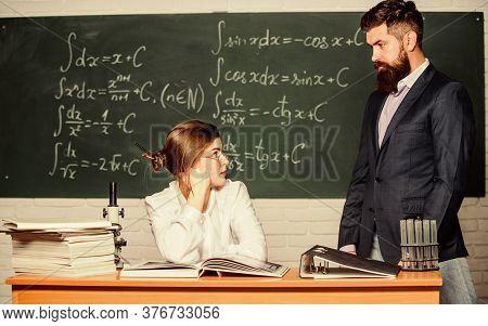 Demanding Lecturer. Teacher Strict Serious Bearded Man Having Conflict With Student Girl. Man Unhapp