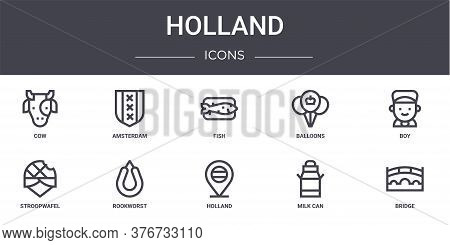 Holland Concept Line Icons Set. Contains Icons Usable For Web, Logo, Ui Ux Such As Amsterdam, Balloo